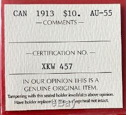 1913 Canada Gold $10 Dollar Coin ICCS AU-55