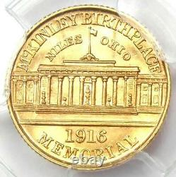 1916 McKinley Commemorative Gold Dollar Coin G$1 Certified PCGS MS63 (UNC BU)