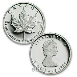 1979-1989 Canada Commemorative Maple Leaf Set Silver Gold Platinum Coins OGP COA