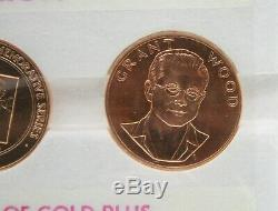 1980 1oz GRANT WOOD AMERICAN ARTS GOLD MEDALLION 3 COIN SET