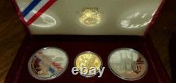 1983 / 1984 US Mint 3 Coin Olympic Proof Set ($10 Gold, $1 Silver, $1 Silver)