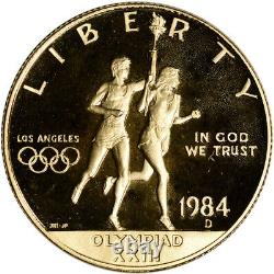 1984-D US Gold $10 Olympic Commemorative Proof Coin in Capsule