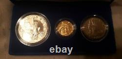 1986 US Statue Of Liberty 3 Coin Proof Set, Gold, Silver