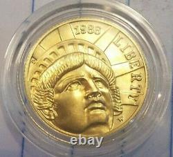 1986 W Gold $5 Half Eagle Coin Statue of Liberty Commemorative UNC in Capsule