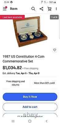 1987 US Constitution 4-Coin Commemorative Set 2 gold & 2 silver with COA