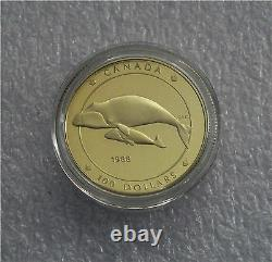 1988 CANADA $100 DOLLARS GOLD COIN, WHALE PROOF 1/4 Troy Oz