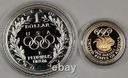 1988-W Proof Olympic Commemorative 2 Coin Set $5 Gold & Silver $1 Dollar OGP