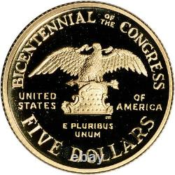1989-W US Gold $5 Congressional Commemorative Proof Coin in Capsule