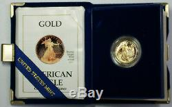1990-P Proof 1/4 Ounce Gold Eagle $10 Coin in OGP with COA