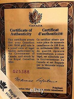 1991 Canadian Gold $100 Proof Coin MIB WITH COA
