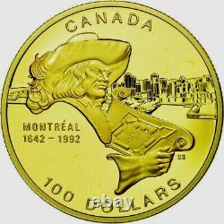 1992 CANADA $100 DOLLARS GOLD COIN MONTREAL PROOF 1/4 Troy Oz