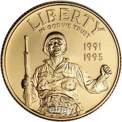 1993-W US Gold $5 World War II Commemorative BU Coin in Capsule