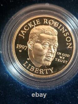 1997 W Jackie Robinson 50th Anniversary Legacy Set $5 Gold Coin+ Card+ Patch&Pin