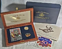 1997-W Jackie Robinson 50th Anniversary Legacy Set $5 Gold Coin Card/Pin/Patch