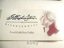 1999- W George Washington Gold $5 Bicentennial Commemorative Coin with COA 654