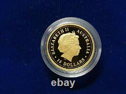 1999 Year of the RABBIT 1/10 Oz $15 PROOF Gold Lunar Perth Mint Australia Coin