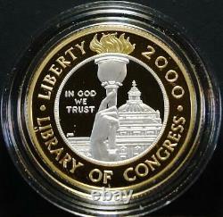 2000-W $10.5018 oz. Proof Bimetallic Platinum & Gold Library of Congress in OGP