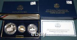 2001 U. S. Capitol Visitor's Center Commemorative 3 Coin Proof Set In Box Gold