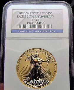 2006 W GOLD EAGLE 20TH ANNIVERSARY SET NGC-70, 3 Coin Set- MS70, RP70, PF70