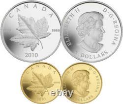 2010 Set of 2 Piedfort Reverse-Prf Coins 1oz Fine Silver and 1/5oz Gold(12728)