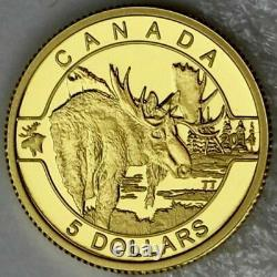 2014 O Canada $5 Dollars 9999 gold coin Moose proof