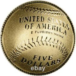 2014-W US Gold $5 Baseball Hall of Fame Commemorative Proof Coin in Capsule