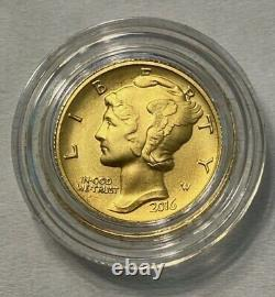 2016 Mercury Dime Gold Centennial Coin, Perfect in Mint display box