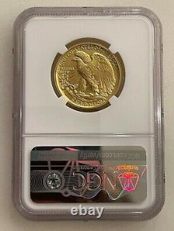 2016-W 100th Anniversary NGC SP70 Gold 50C Walking Liberty 24K 1/2 ounce coin