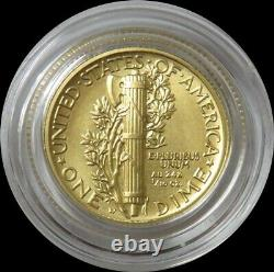 2016 W Gold Mercury Dime 1/10 Oz Gold Centennial Coin In Capsule Only