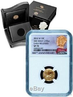 2016 W Mercury Dime Gold Centennial Coin NGC SP70 Early Release + OGP