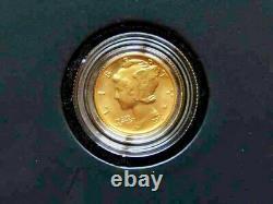 2016 W Mercury Dime Gold Centennial Commemorative Coin In Box/coa 1st Run