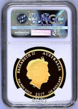 2017 P Australia PROOF Colorized GOLD $100 Lunar Year ROOSTER NGC PF70 1 oz Coin