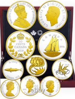 2018 Legacy of the Dime Pure Silver Gold Plated Proof 5-Coins Set Canada