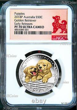 2018 Puppies Golden Retriever PROOF Silver NGC PF70 1/2oz Coin Lunar Year DOG ER