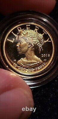 2018 W American Liberty 1/10th Ounce Gold Proof Coin. 9999 COA