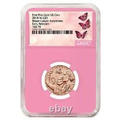 2018 W Breast Cancer Awareness $5 Gold Commemorative NGC MS 70 ER (Pink Holder)