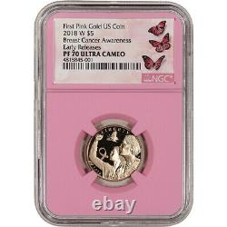 2018-W US Gold $5 Breast Cancer Commemorative Proof NGC PF70 Early Releases Pink