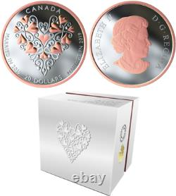 2019 Love Heart Marriage Wedding Day $20 1OZ Pure Silver Pink-Gold-Plated Coin