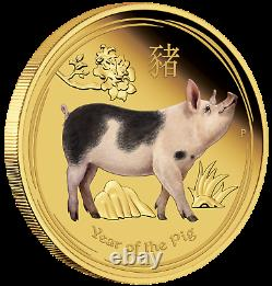 2019 P Australia PROOF COLORED GOLD $100 Lunar Year of the PIG NGC PF70 1oz Coin