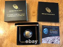 2019 W Apollo 11 50th 1/4 Ounce Uncirculated BU US Mint 5 Dollar Gold Coin Moon