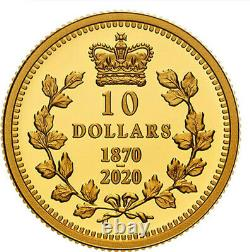 2020'Dominion of Canada' Proof $10 Gold Coin 1/4oz. 9999 Fine(RCM 178654)20095
