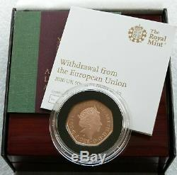 2020 Royal Mint Withdrawal from the EU Brexit 50p Gold Proof Coin Box Coa