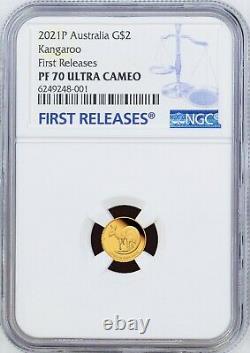 2021 Australia Mini Roo Kangaroo PROOF 9999 GOLD 0.5g $2 NGC PF70 Coin FR