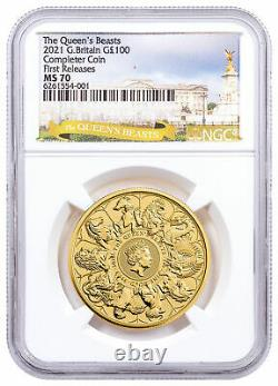 2021 Great Britain 1 oz Gold Queen's Beasts Completer £100 Coin NGC MS70 FR