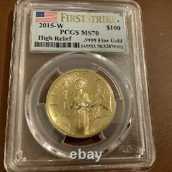 American Liberty 2015 W High Relief Gold Coin PCGS MS70 MS 70