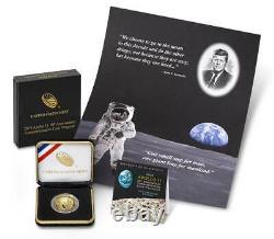 Apollo 11 50th Anniv 2019 Proof $5 Gold Coin & Kennedy-Apollo 11 Intaglio print