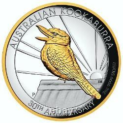 Australian Kookaburra 2oz High Relief Silver Proof Coin 24K Gilded 2020
