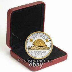 Canada 2015 Big Coins Series Beaver 5 Cent 5 Oz Silver Gold Plated Nickel in OGP