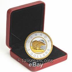 Canada 2015 Big Coins Series Polar Bear $2 Toonie 5 Oz Silver Gold Plated Proof