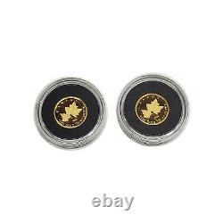 Canada 50 Cents 2009 2 Coins Gold Maple Leaf 1/25 Ounce each